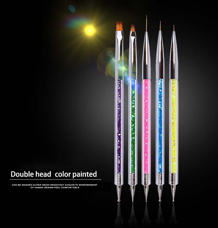 Nail Tools Accessories Double-headed Pointer Pull Pen Sequins Set Of 5 Painted Pens