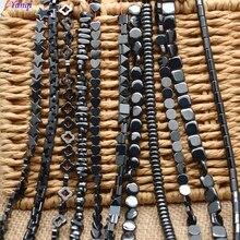 Бусины из натурального камня, цилиндрические, Звездные, сердечные, квадратные, черные, гематитовые, плоские, круглые, свободные, бусины для женщин, мужчин, ювелирные изделия, сделай сам