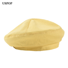 USPOP 2019 New women berets solid color beret hat female  spring summer breathable cotton hats