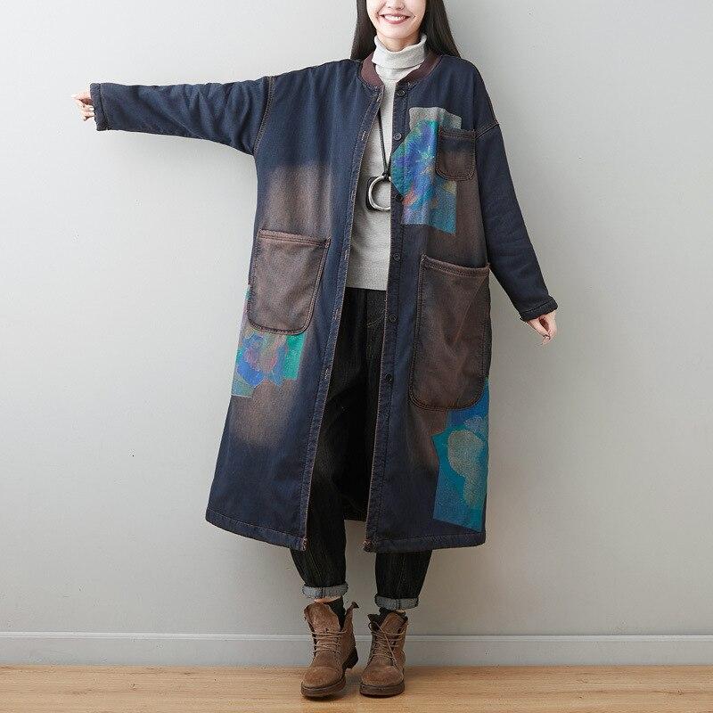 Thicken Warm Cowboy Windbreaker Women Winter Fleece Denim Trench Vintage Long O-neck Coat Baggy Slingle Breasted  Jean Overcoat