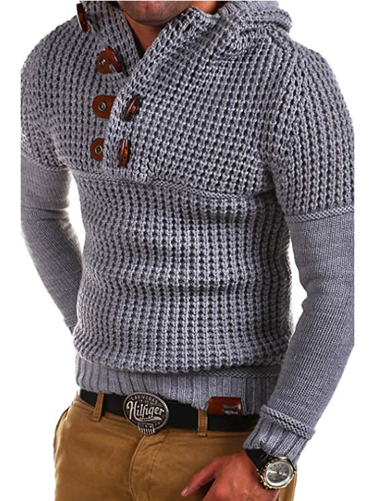ZOGAA 2019 Autumn Winter Men Knitted Sweaters Casual Horn Buckle Solid Slim Hooded Sweaters Male Warm Thick Pullover Sweaters