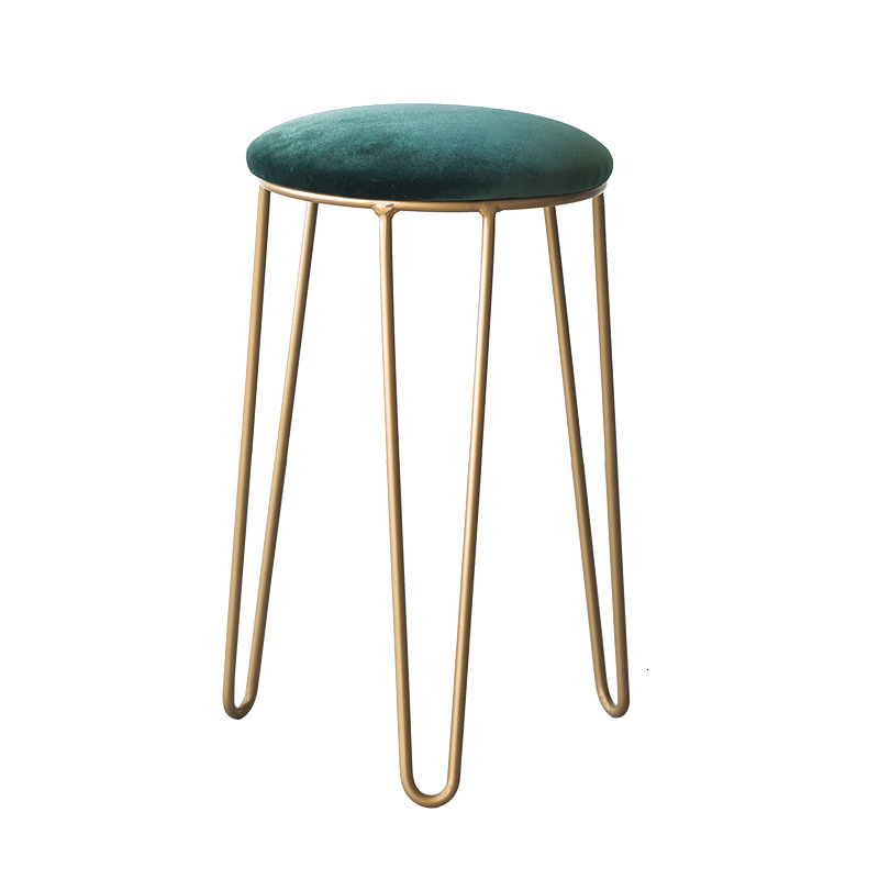 Small Circle Stool Household Dinner Stool Light Luxurious Makeup Chair Iron Light Luxury Chair Dressing Stool Makeup Stool