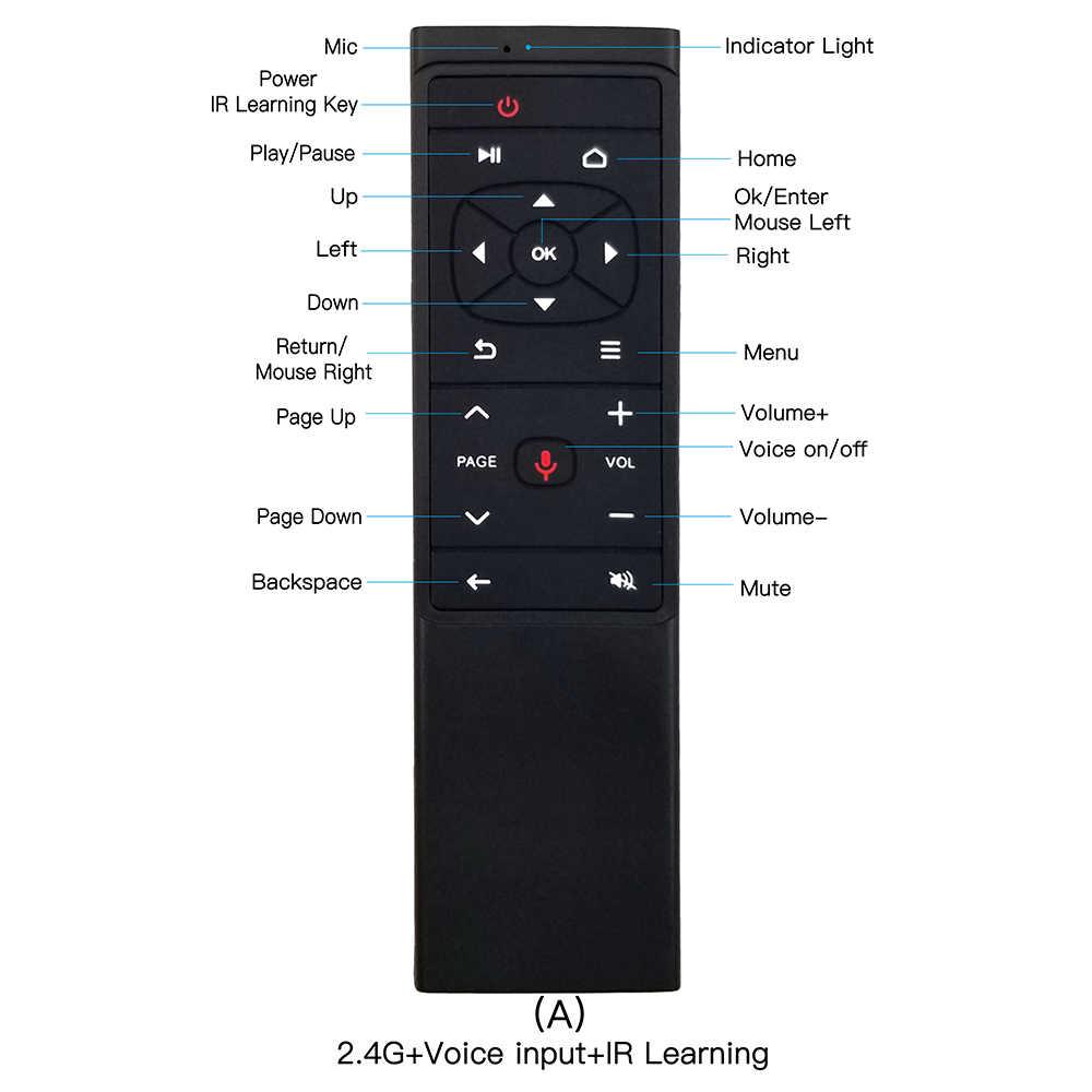 MT12 Google Voice pilot zdalnego sterowania 2.4G bezprzewodowa mysz Gyro wykrywania uczenia IR pilot zdalnego sterowania do Android TV Box H96 HK1 A95X x96H