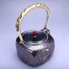 Teapot, stainless steel teapot, silver hot water teapot 1000ml water, kung fu tea set.