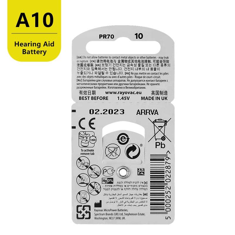 RAYOVAC PEAK 60 x Hearing Aid Batteries A10 10A ZA10 10 S10, 60 PCS Hearing Aid Batteries Zinc Air 10/A10 4