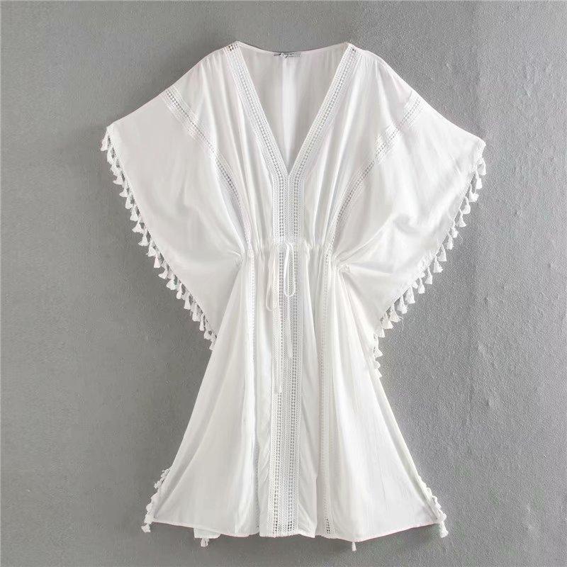 Summer Dress 2020 White Tassels Rayon Loose Zaraing Women Dress Sheining Vadiming Female Sexy Dress Vintage Plus Size Xdn9477