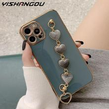 Holo Heart Fabric Bracelet Hand Holder Cover for iPhone 12 11 Pro Max XR XS X 8 7 Plus Luxury Plated Gold Electroplated Cases