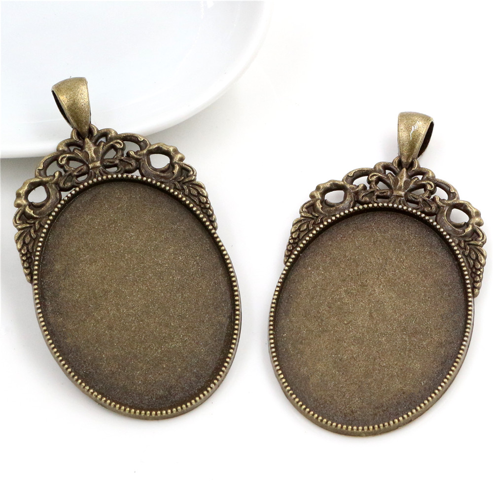 New Fashion  5pcs 30x40mm Inner Size Antique Bronze Pierced Style Cabochon Base Setting Charms Pendant (B2-10)