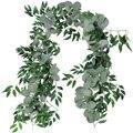 2 m misturado artificial prata dólar eucalipto folhas e folhas de salgueiro videira grinalda casamento arco fundo verde guirlanda
