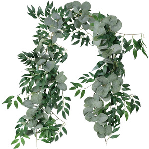 Image 1 - 2M Mixed Artificial Silver Dollar Eucalyptus Leaves and Willow Leaves Vine Wreath Wedding Arch Background Green Garland