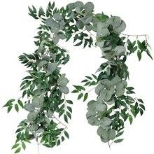 2m misturado artificial prata dólar eucalipto folhas e folhas de salgueiro videira grinalda casamento arco fundo verde guirlanda
