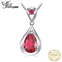 JewelryPalace капли воды 4ct создан красный рубин кулон 925 пробы серебряные ожерелья для женщин модные украшения без цепи