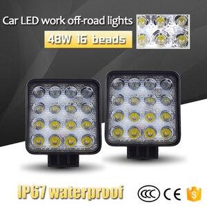 Image 2 - 12V Spot Led Work Light Bar 48W 4inch Offroad Car Headlight for Truck Tractor Boat Trailer 4x4 SUV ATV Led Driving Light Lamp