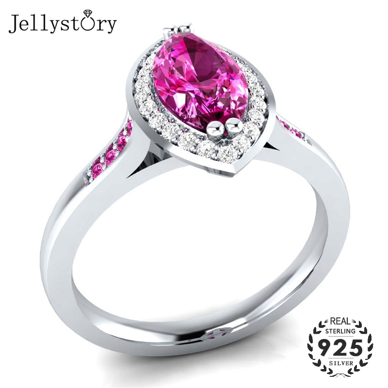 Jellystory Fashion 925 Silver Ring Jewelry with Oval shape Amethyst Zircon Gemstone Rings for Women Wedding Party Gift wholesale