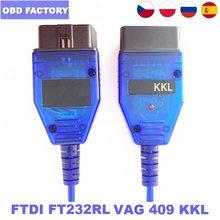 Kkl 409 VAG-COM kkl cabo usb ft232rl kkl vagcom 409.1 obd2 ii obd2 scanner de diagnóstico para a relação de vag-com