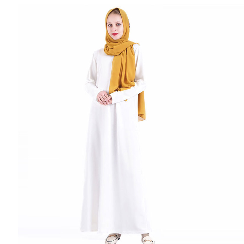 Islamic solid color inner women's dress soft long-sleeved bottoming long skirt Muslim clothing over the knee Ramadan dress