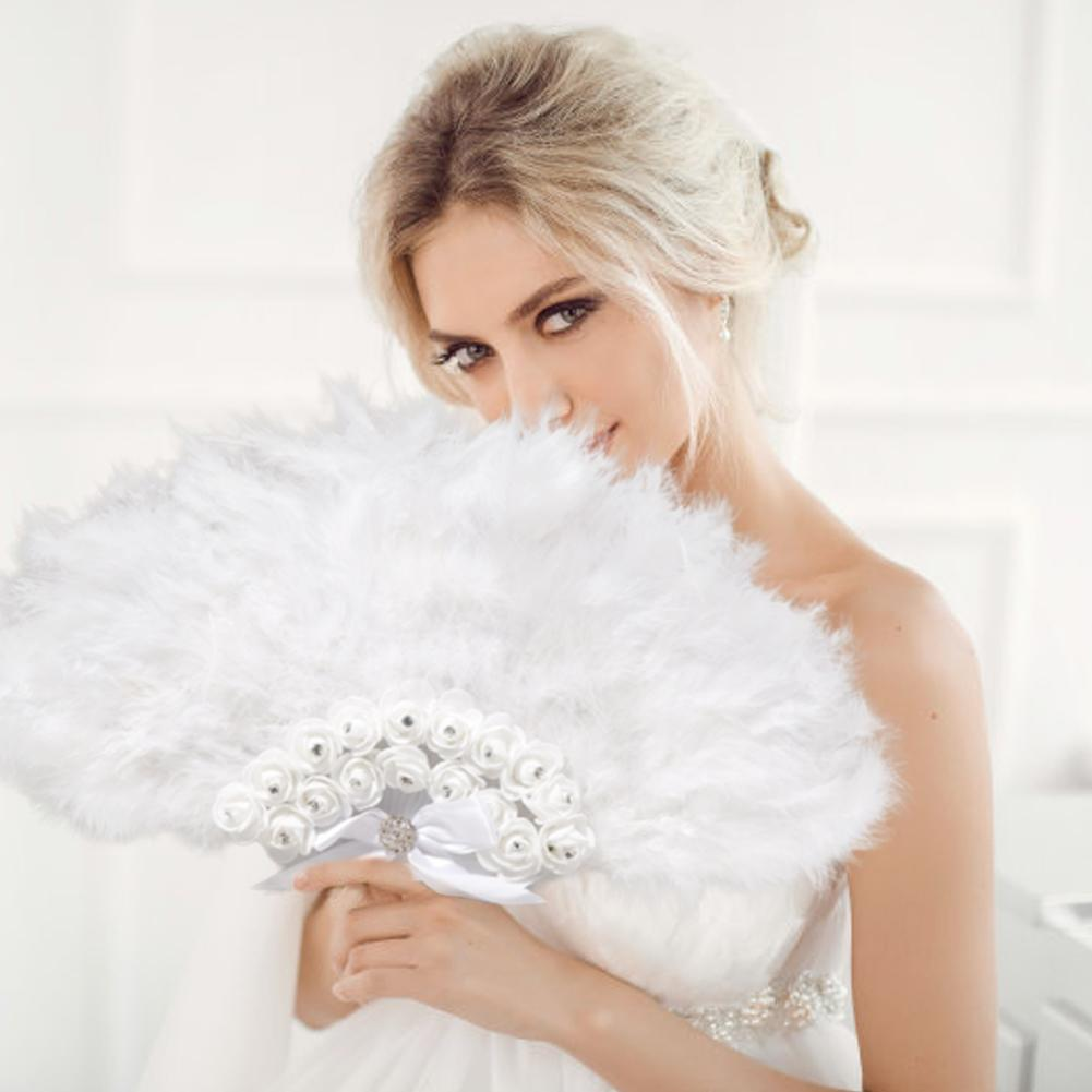 Wedding Feather Fan Bride Non-folding Handheld Fans Party Supplies Photo Shooting Props