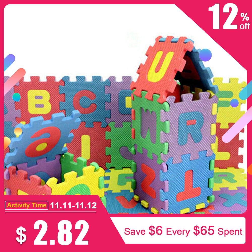 72 Uds bebé niños Mini EVA espuma alfabeto, letras y números Mat 3D rompecabezas juguetes educativos 3D puzle bebé juguetes de madera juguetes educativos para primera infancia atrapa gusano juego de Color de fresa capacitativa capacidad de agarre divertido