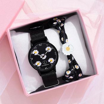 Fashion Daisy Flowers Nylon Band Watches For Women Casual Analog Quartz Wristwatches Women Watches Ladies Clock Relogio Feminino