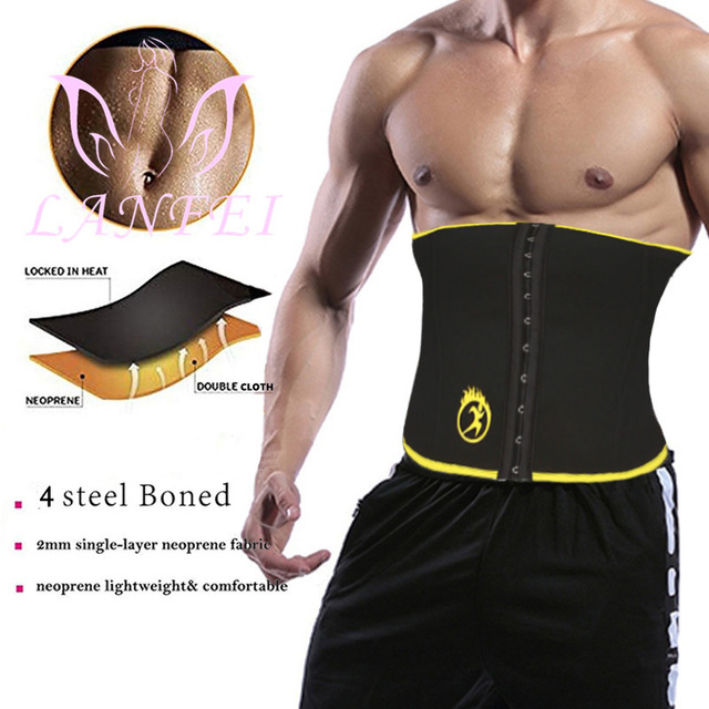 LANFEI Mens Body Shaper Modeling Strap Waist Trainer Cincher Slimming Belt Fajas Hot Neoprene Sweat Sauna Gym Weight Loss Corset 1