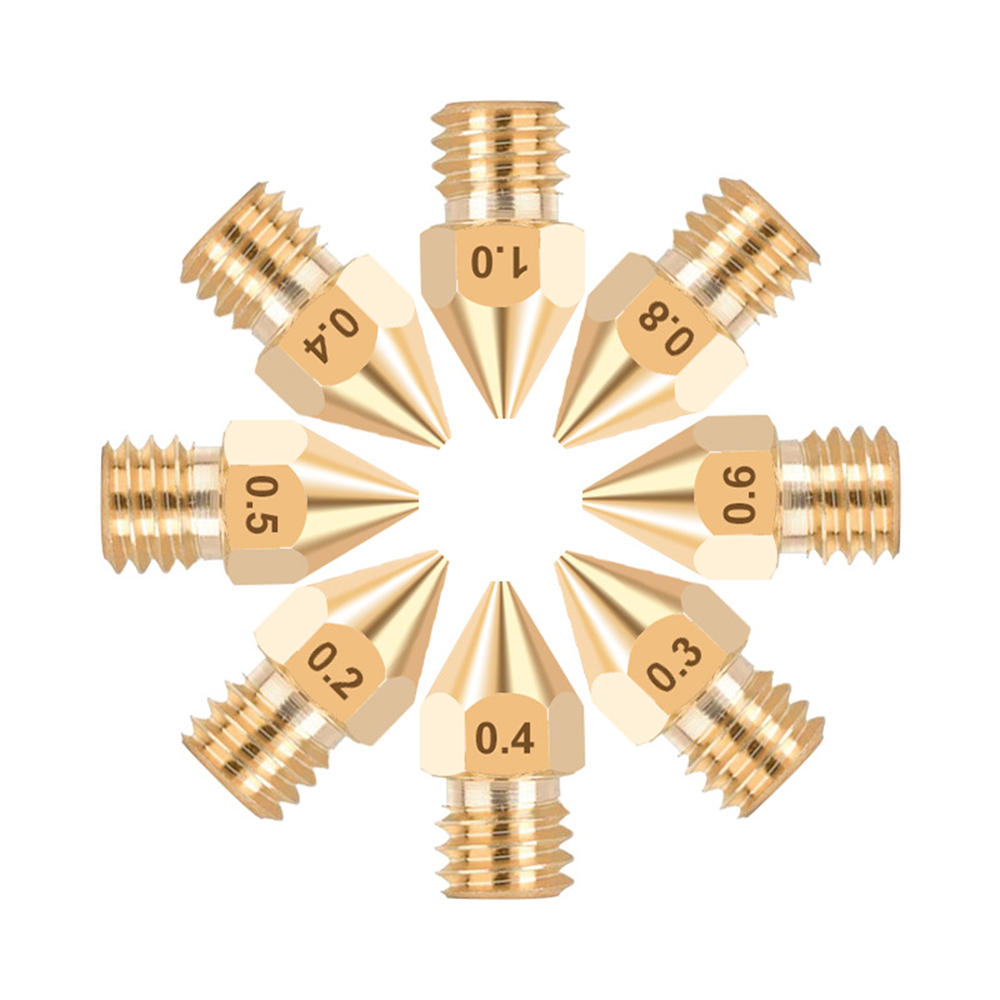 5Pieces 3D Printer Brass Copper Nozzle All Sizes 0.2/0.3/0.4/0.5/0.6/0.8/1.0 Extruder Print Head For 1.75mm MK8 Makerbot