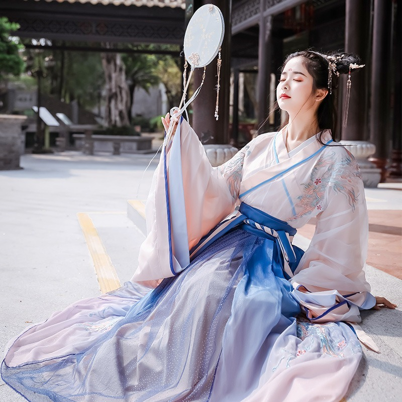 Autumn and winter Hanfu female ancient costume Chinese style heavy industry embroidery gradient big sleeve waist skirt hanfu