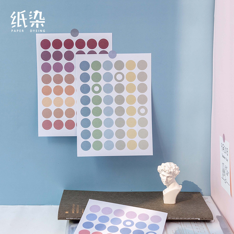 Mohamm 2 Sheets Pearl Series Dot Flat Stickers Basic Material Dots Ins Decorative Stationary Scrapbooking Gift Girl School Suppl