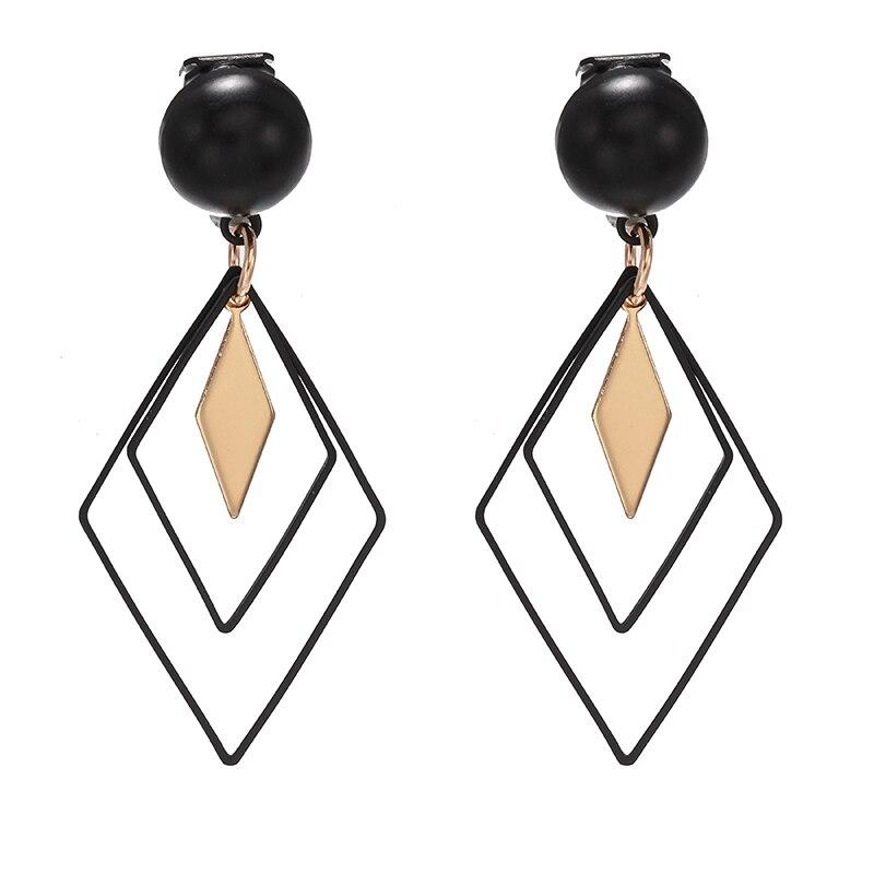 Корейские массивные черные ромбовидные клипсы для женщин 2020 модные ювелирные изделия винтажные геометрические золотые серьги без пирсинга уши|Серьги-клипсы|   | АлиЭкспресс