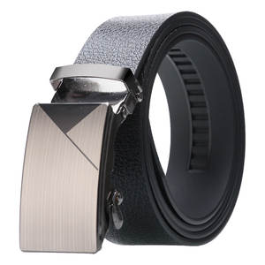 Men's High quality Automatic buckle Belt Alloy buckle Durable Artificial Leather Bark texture Business fashion casual jeans Belt