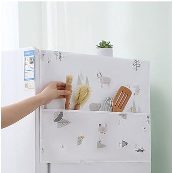 Wydrukowana pokrywa na lodówkę wodoodporna torba do przechowywania osłona przeciwpyłowa lodówka domowa górna pokrywa torba do zawieszenia pokrywa ręcznik tanie i dobre opinie CN (pochodzenie)