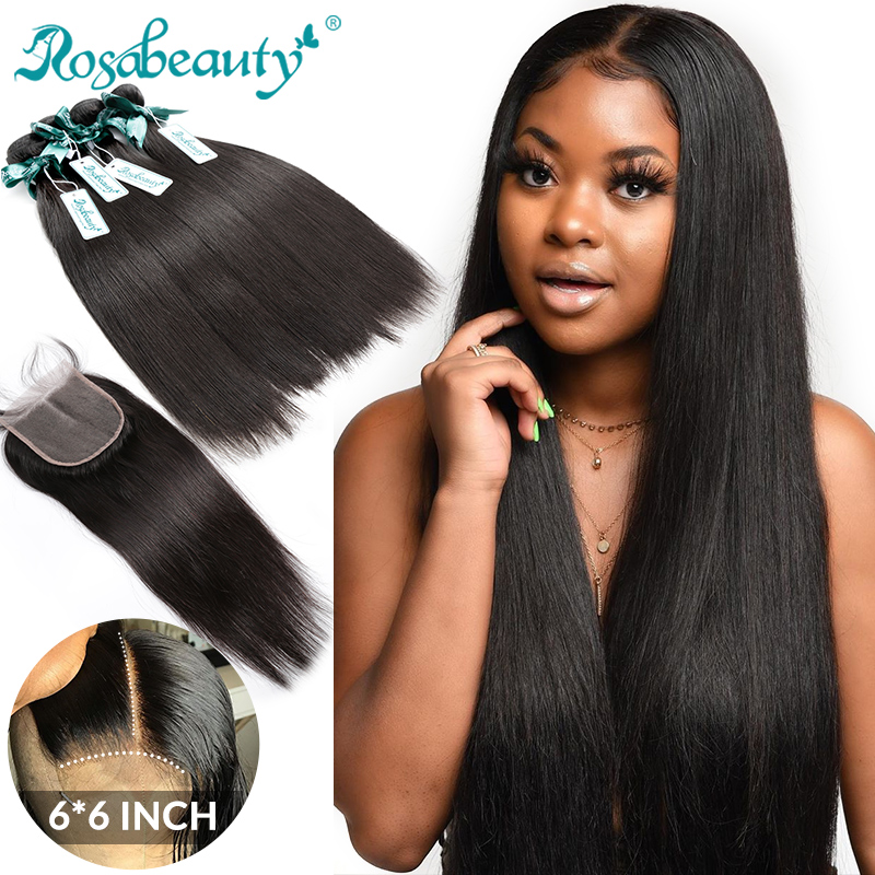Rosabeauty Straight Bundles With 6x6 Lace Closure Brazilian Remy Double Drawn Human Hair Bundles With Closure Frontal 28 30 Inch