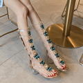 Boêmio estilo transparente gladiador sandália mulher dedo do pé aberto t-cinta strass diamante meados de salto sapatos femininos verão botas longas