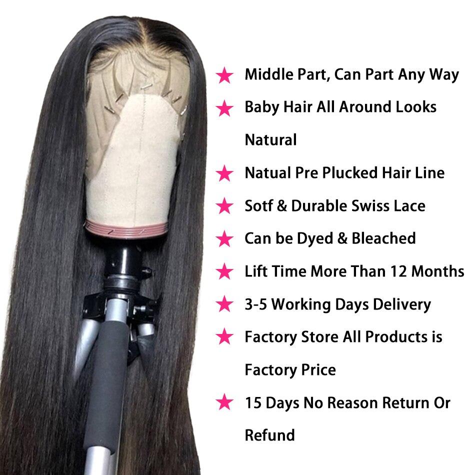 HD прозрачный Синтетические волосы на кружеве парики из натуральных волос для Для женщин бразильские волосы прямые Синтетические волосы на кружеве парики 13x4 предщипанный бесклеевой парик шнурка - 2