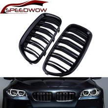 цена на SPEEDWOW 2Pcs Gloss Car Front Grille Wide Kidney Grille Grill For BMW 5 Series F10 F18 2010-2017 Front Bumper Grille