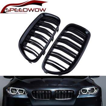 SPEEDWOW 2Pcs Gloss Car Front Grille Wide Kidney Grille Grill For BMW 5 Series F10 F18 2010-2017 Front Bumper Grille made in taiwan carbon fiber material m5 look front kidney grill grille for bmw 5 series f10 sedan 2010 520i 525i 530i 535i