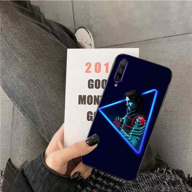 Marvel Supereroe Nero TPU Molle Della Copertura Del Telefono per huawei Y7pro y9 2018 y6 Y7 prime Y6pro 7a caso