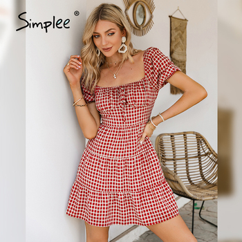Simplee Square collar red grid short dress Retro bubble sleeves french style dresses Elegant lace up causal spring dresses woman 1