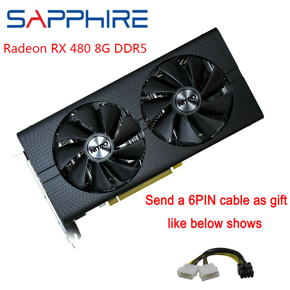 SAPPHIRE Radeon AMD RX 480 Graphics Cards AMD Gaming PC Video Card GPU 256bit 8GB GDDR5 For Gaming Computers Used Card