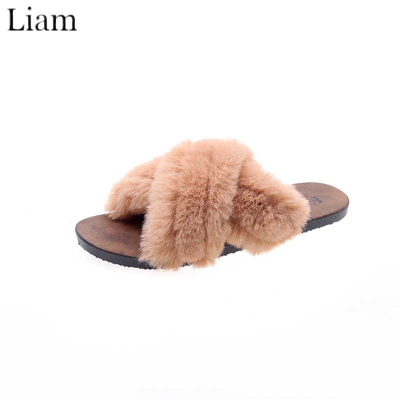 Zapatillas antideslizantes de piel para el hogar para mujer, zapatos cómodos de felpa, corbata cruzada, bonitos zapatos negros y marrones mujer