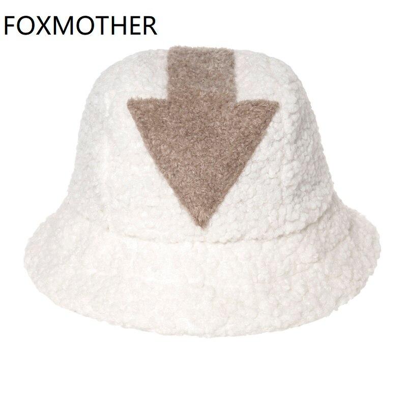 FOXMOTHER-Gorros de lana de cordero para mujer, Gorros de pesca de piel sintética con símbolo de flecha, color blanco, Hip Hop, envío directo