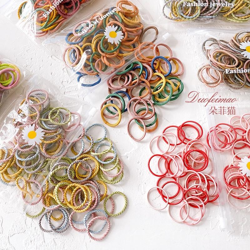 100 adet/torba yeni çocuk sevimli renk yumuşak elastik saç bantları bebek kız güzel Scrunchies lastik bantlar çocuk saç aksesuarları