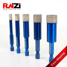 Raizi Tile Hole Saw Drill Bits Vacuum Brazed Diamond Core Bit For Granite Marble With 1/4 inch Shank 6~14 mm (Free Shipping) 8 500mm 0 31 5 16 diameter sds alloy wall core drill bits ncp8sds500 for bosch drill machine free shipping tile coring pit