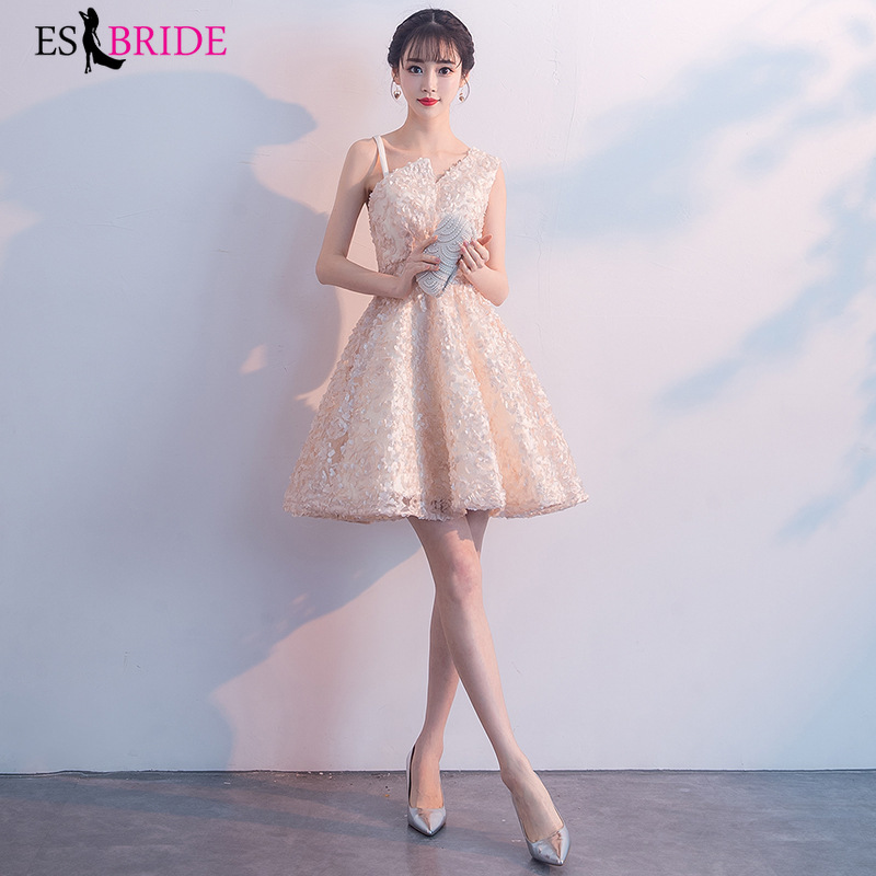ES2747 Sexy Short   Cocktail     Dresses   Bridal Banquet Wine Red stain Backless Party Formal   Dress   Homecoming   Dress   Robe De Soiree