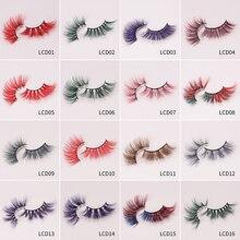 LM & Beauty 25 мм натуральные красочные длинные норковые ресницы ручной работы 5D перекрестные накладные ресницы инструменты для макияжа