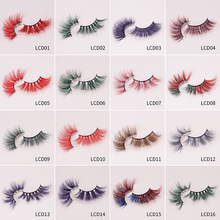 LM&Beauty 25mm Natural Colorful Long Mink Eyelashes Handmade 5D Crossed False Lashes Make-up Extension Tools