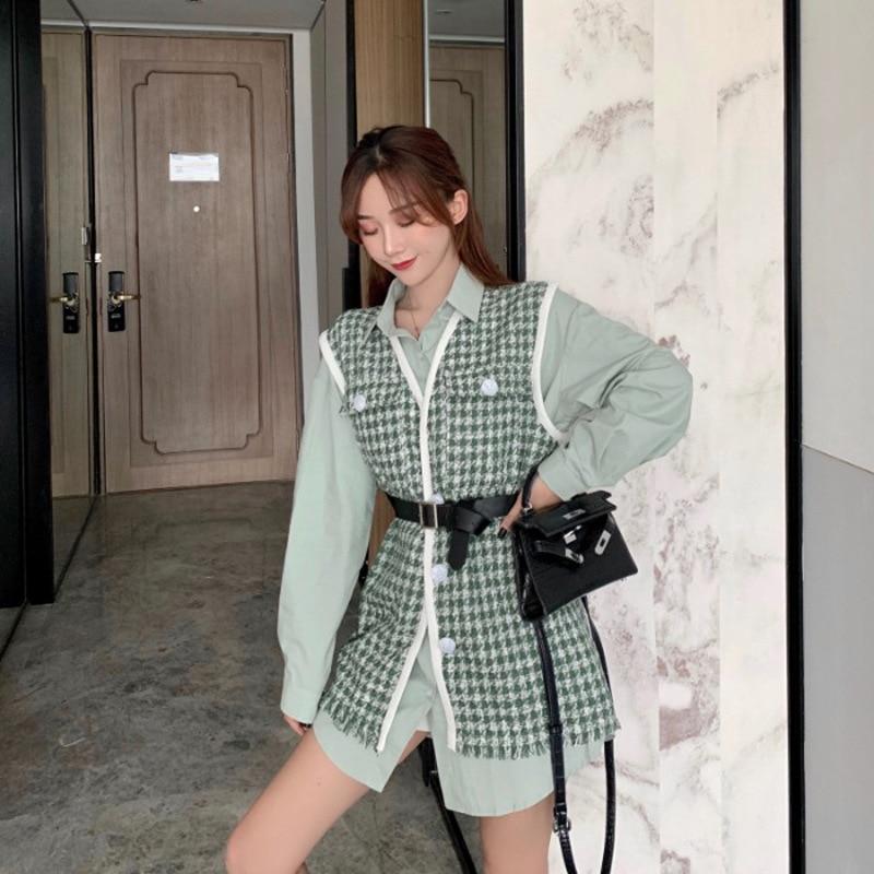 Elegant Waistcoat Coat Set Autumn 2019 New Style Fashion Western Style Network Hong Xian WOMEN'S Long-sleeve Shirts Two-Piece Se