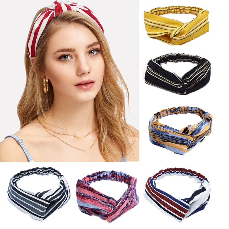 Fashion Bohemia Stripe Knotted Headbands Girls Elastic Hair Rope  Hair Accessories For Women Hairband Headwrap Hair Accessories