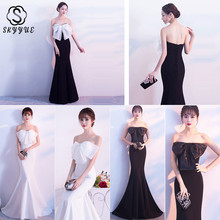 Skyyue Evening Dress Backless Elegant Women Party Dresses Boat Neck Robe De Soiree 2019 Solid Sleeveless Gowns C140-DS3