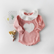 BABY BALL Baby Rompers 2019 Fashion Autumn Winter Heart Pattern Knitting Roddler Cotton Knitting Clothing For Kids Girls knitting for baby