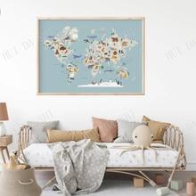 World Map Poster| Kids Map| Animal Map| Kids Map of the World| Kids Room Art| Kids Art| Educational Art| Scandinavian Nursery
